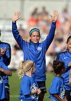 Kansas City, MO - Saturday July 16, 2016: Shea Groom prior to a regular season National Women's Soccer League (NWSL) match between FC Kansas City and the Washington Spirit at Swope Soccer Village.