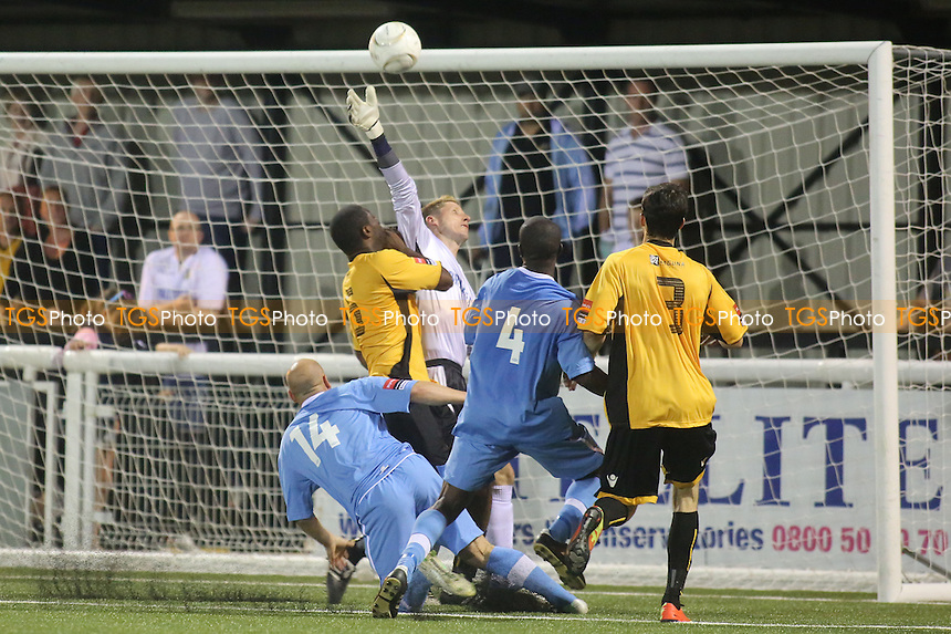 Maidstone goalkeeper, Lee Worgan, tips the ball over the bar to foil another Billericay attack - Maidstone United vs Billericay Town - Ryman League Premier Division Football at the Gallagher Stadium, Maidstone, Kent - 20/08/13 - MANDATORY CREDIT: Paul Dennis/TGSPHOTO - Self billing applies where appropriate - 0845 094 6026 - contact@tgsphoto.co.uk - NO UNPAID USE