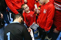 20200201 Herentals , BELGIUM :  Belgian fans getting a signature of Belgian goal keeper Moustafa Idrissi (1) after the futsal indoor soccer game between the Belgian Futsal Devils of Belgium and Montenegro on the third and last matchday in group B of the UEFA Futsal Euro 2022 Qualifying or preliminary round , Saturday 1st February 2020 at the Sport Vlaanderen sports hall in Herentals , Belgium . PHOTO SPORTPIX.BE | Sevil Oktem