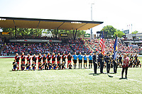 Portland, OR - Saturday July 15, 2017: National Anthem during a regular season National Women's Soccer League (NWSL) match between the Portland Thorns FC and the North Carolina Courage at Providence Park.