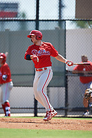 Philadelphia Phillies Matt Vierling (24) hits a single a Florida Instructional League game against the Atlanta Braves on October 5, 2018 at the Carpenter Complex in Clearwater, Florida.  (Mike Janes/Four Seam Images)