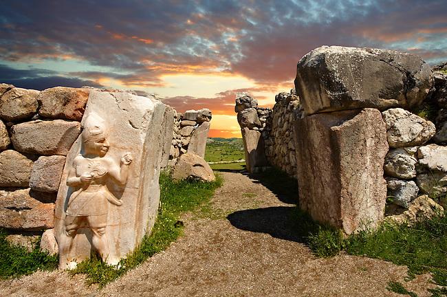 Photo of the Hittite releif sculpture on the Kings gate to the Hittite capital Hattusa 6