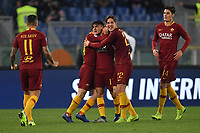 Cengiz Under of AS Roma celebrates with team mates after scoring goal of 1-1 during the Serie A 2018/2019 football match between AS Roma and FC Internazionale at stadio Olimpico, Roma, December, 2, 2018 <br />  Foto Andrea Staccioli / Insidefoto