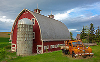 The Palouse, Whitman County, WA: Vintage flatbed truck in front of red barn and silo