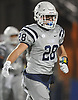 Dylan Judd #28 reacts after making an interception in the Nassau County Conference I varsity football final against Freeport at Hofstra University on Saturday, Nov. 18, 2017. On offense, he made six receptions for 88 yards and a touchdown. Oceanside won by a score of 17-0.