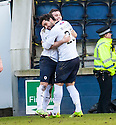 Raith Rovers' Lewis Vaughan (9) is congratulated by Rory McKeown after he scores their second goal.