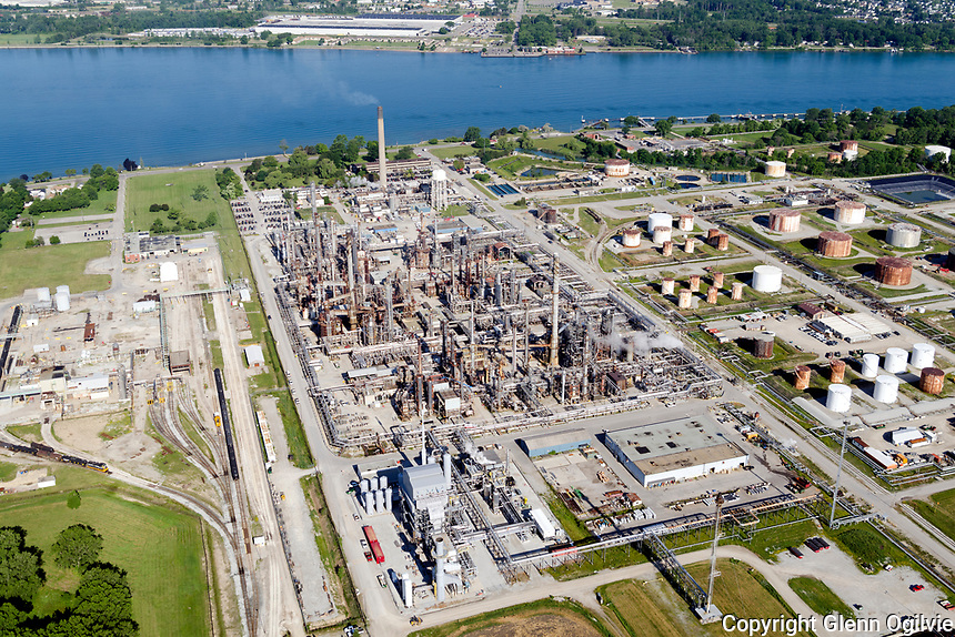 Aerials of Sarnia, Point Edward, Brights Grove, Corunna, Stage Island, Chemical Valley, farmland, highway, commercial, residential, industry,
