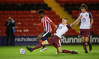 Lincoln City U18's Timothy Akinola vies for possession with South Shieldsy U18's Jordan Patterson<br /> <br /> Photographer Chris Vaughan/CameraSport<br /> <br /> The FA Youth Cup Second Round - Lincoln City U18 v South Shields U18 - Tuesday 13th November 2018 - Sincil Bank - Lincoln<br />  <br /> World Copyright © 2018 CameraSport. All rights reserved. 43 Linden Ave. Countesthorpe. Leicester. England. LE8 5PG - Tel: +44 (0) 116 277 4147 - admin@camerasport.com - www.camerasport.com