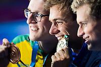 PALTRINIERI Gregorio ITA gold medal, HORTON Mack AUS brpnze medal, ROMANCHUK Mykhailo UKR  silver medal<br /> swimming<br /> Men's 1500m freestyle final<br /> day 17 30/07/2017 <br /> XVII FINA World Championships Aquatics<br /> Photo © Giorgio Perottino/Deepbluemedia/Insidefoto