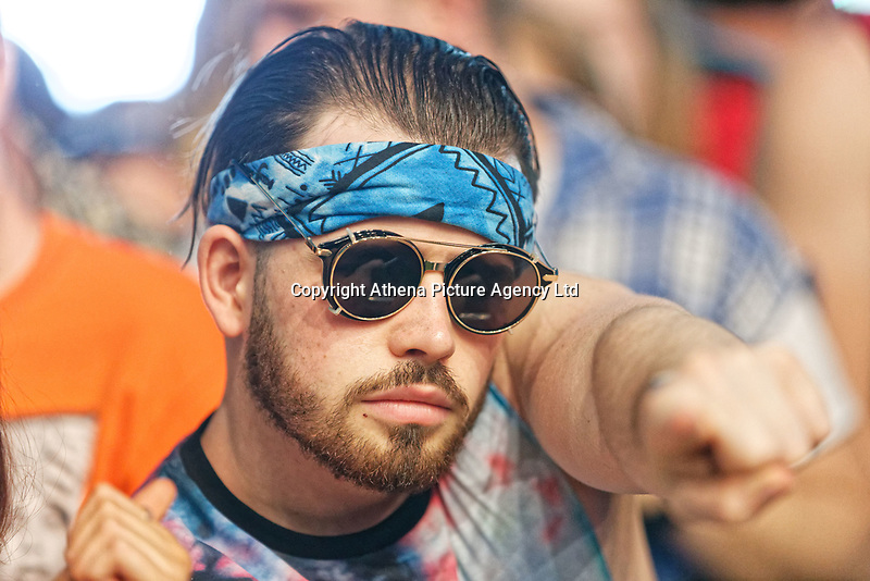 Pictured: A fan of Jorja Smith in the crowd. Saturday 26 May 2018<br /> Re: BBC Radio 1 Biggest Weekend at Singleton Park in Swansea, Wales, UK.