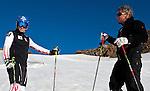 17.08.2011, Tiefenbachferner, Soelden, AUT, OeSV, Benjamin Raich, erstes Training auf Schnee nach seinem Kreuzbandriss bei der WM in Garmisch, im Bild  v.l. Benjamin Raich und Rennsportleiter Mathias Berthold. // during an OeSV trainings session at Tiefenbachferner in Soelden, Austria on 17/8/2011. EXPA Pictures © 2011, PhotoCredit: EXPA/ J. Groder