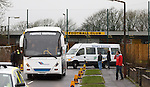Supporters busses looking for a place to park up