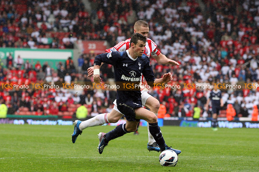 Gareth Bale of Tottenham Hotspur and Ryan Shawcross of Stoke City - Stoke City vs Tottenham Hotspur at the Britannia Stadium - 12/05/13 - MANDATORY CREDIT: Dave Simpson/TGSPHOTO - Self billing applies where appropriate - 0845 094 6026 - contact@tgsphoto.co.uk - NO UNPAID USE.