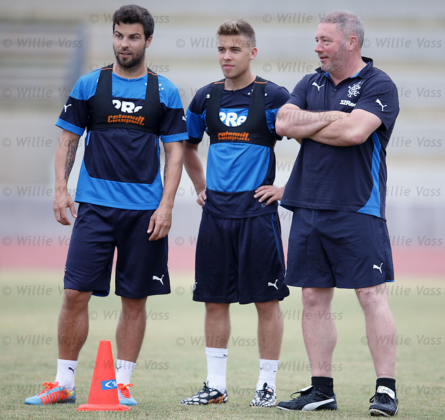 Ally McCoist with Richard Foster and Andy Murdoch