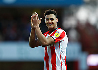 8th February 2020; Griffin Park, London, England; English Championship Football, Brentford FC versus Middlesbrough; Ollie Watkins of Brentford applauding the Brentford fans after the final whistle