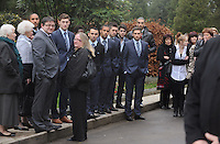 Pictured: Swansea City players attending the funeral of Scott Bryant at Morriston Crematorium.<br />