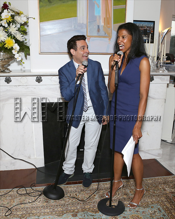 Mario Cantone and Renee Elise Goldsberry perform at 'Parlor Night' A benefit evening for The Broadway Inspirational Voices Outreach Program at the home of Roy and Jenny Neiderhoffer on June 22, 2015 in New York City.