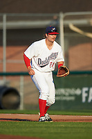 Auburn Doubledays first baseman David Kerian (21) during a game against the Williamsport Crosscutters on June 25, 2016 at Falcon Park in Auburn, New York.  Auburn defeated Williamsport 5-4.  (Mike Janes/Four Seam Images)