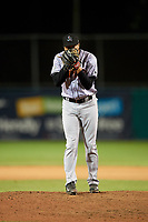 Jupiter Hammerheads relief pitcher Zech Lemond (33) looks in for the sign during a game against the Daytona Tortugas on April 13, 2018 at Jackie Robinson Ballpark in Daytona Beach, Florida.  Daytona defeated Jupiter 9-3.  (Mike Janes/Four Seam Images)