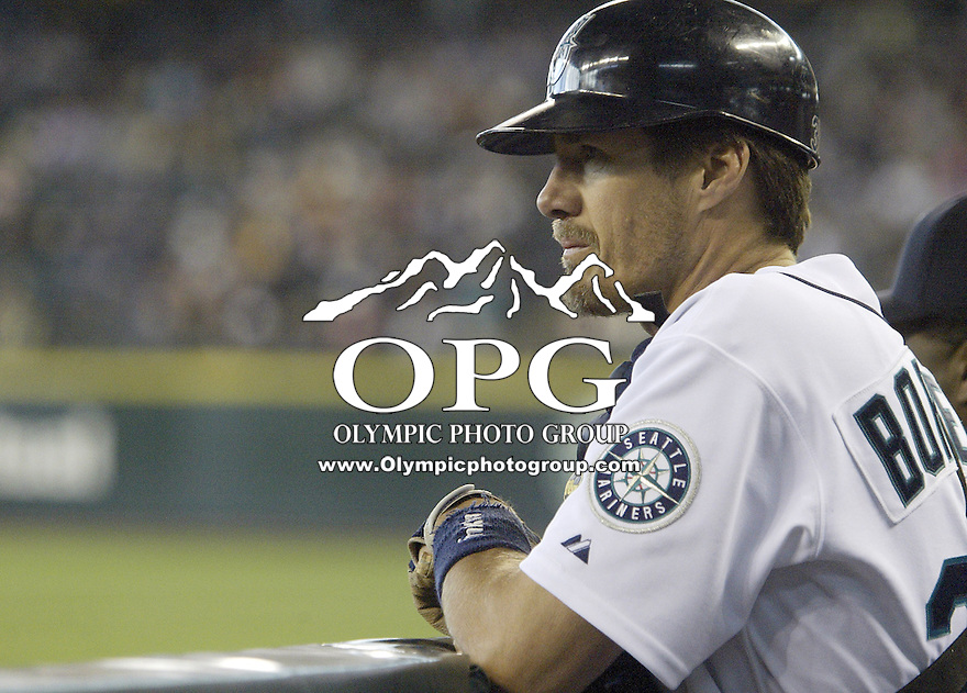 22 May 2005: Seattle Mariners catcher Pat Borders watches from the dug out as San Diego Padres take the field at Safeco field in Seattle, WA.