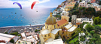 Paraglider over Positano town - Amalfi caost - Italy