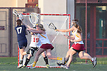 Santa Barbara, CA 02/18/12 - Jordan Haws (BYU #17), Mallory McDonough (Arizona State #5) in action during the Arizona State vs BYU matchup at the 2012 Santa Barbara Shootout.  BYU defeated Arizona State 10-8.