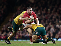 Wales' Rob Evans is tackled by Australia's Tatafu Polota-Nau<br /> <br /> Photographer Simon King/CameraSport<br /> <br /> International Rugby Union - 2017 Under Armour Series Autumn Internationals - Wales v Australia - Saturday 11th November 2017 - Principality Stadium - Cardiff<br /> <br /> World Copyright &copy; 2017 CameraSport. All rights reserved. 43 Linden Ave. Countesthorpe. Leicester. England. LE8 5PG - Tel: +44 (0) 116 277 4147 - admin@camerasport.com - www.camerasport.com
