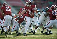 NWA Democrat-Gazette/CHARLIE KAIJO Arkansas Razorbacks quarterback Cole Kelley (15) hands the ball off to Arkansas Razorbacks running back Devwah Whaley (21) during a football game on Saturday, November 4, 2017 at Razorback Stadium in Fayetteville