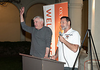Jim Kerman and Paul Finchamp '80<br /> Now in his 30th year as Oxy's head men's basketball coach, Brian Newhall received a much deserved celebration with a surprise halftime ceremony and post game reception in the Booth Hall courtyard with more than 70 former and current players from all different generations and decades in attendance, on Saturday, Jan. 26, 2019.<br /> Newhall is the winningest coach in Oxy history and has a 100 percent graduation rate in his 30 years at the helm of the program. His resume boasts multiple SCIAC Championships and NCAA Playoff appearances, along with a run to the NCAA Division III Elite Eight in 2003 and the only perfect 14-0 season in SCIAC history. Newhall has not only coached at Oxy, but was a SCIAC Champion and SCIAC Player of the Year during his playing career at Oxy in the early 80s.<br /> (Photo by Marc Campos, Occidental College Photographer)