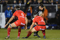 Charlie Ewels of Bath Rugby takes on the Toulon defence. European Rugby Champions Cup match, between Bath Rugby and RC Toulon on December 16, 2017 at the Recreation Ground in Bath, England. Photo by: Patrick Khachfe / Onside Images