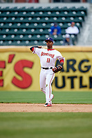 Harrisburg Senators shortstop Osvaldo Abreu (11) throws to first base during the first game of a doubleheader against the New Hampshire Fisher Cats on May 13, 2018 at FNB Field in Harrisburg, Pennsylvania.  New Hampshire defeated Harrisburg 6-1.  (Mike Janes/Four Seam Images)