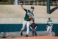 CARY, NC - FEBRUARY 23: McCae Allen #48 of Wagner College makes a pickoff throw to first base during a game between Wagner and Penn State at Coleman Field at USA Baseball National Training Complex on February 23, 2020 in Cary, North Carolina.