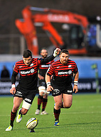 Hendon, England. Nils Mordt © of Saracens kicks a penalty during the LV= Cup match for the first professional rugby game on the artificial turf pitch made for rugby between Saracens and Cardiff Blues at Allianz Park Stadium on January 27, 2013 in Hendon, England.