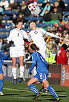 27 November 2010: Rachel Buehler (USA) (4) and Megan Rapinoe (USA) (15). The United States Women's National Team defeated the Italy Women's National Team 1-0 in the second leg of their 2011 FIFA Women's World Cup Qualifier playoff at Toyota Park in Bridgeview, Illinois. The U.S. won the series 2-0 on aggregate goals to advance.