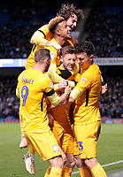 Preston North End's Paul Gallagher is mobbed  after scoring his side's first goal to make it 1-1<br /> <br /> Photographer David Shipman/CameraSport<br /> <br /> The EFL Sky Bet Championship - Ipswich Town v Preston North End - Saturday 3rd November 2018 - Portman Road - Ipswich<br /> <br /> World Copyright &copy; 2018 CameraSport. All rights reserved. 43 Linden Ave. Countesthorpe. Leicester. England. LE8 5PG - Tel: +44 (0) 116 277 4147 - admin@camerasport.com - www.camerasport.com