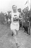 August-September 1920, Olympic Stadium, Antwerp, Belgium;  1920 Summer Olympic Games; Yuri Lossman Estonia competing in the marathon; A total of 29 nations participated in the Antwerp Games, only one more than in 1912, as Germany, Austria, Hungary, Bulgaria and Ottoman Empire were not invited, having lost World War I.