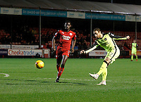 Exeter City's Ryan Harley shoots on goal during the Sky Bet League 2 match between Crawley Town and Exeter City at Broadfield Stadium, Crawley, England on 28 February 2017. Photo by Carlton Myrie / PRiME Media Images.