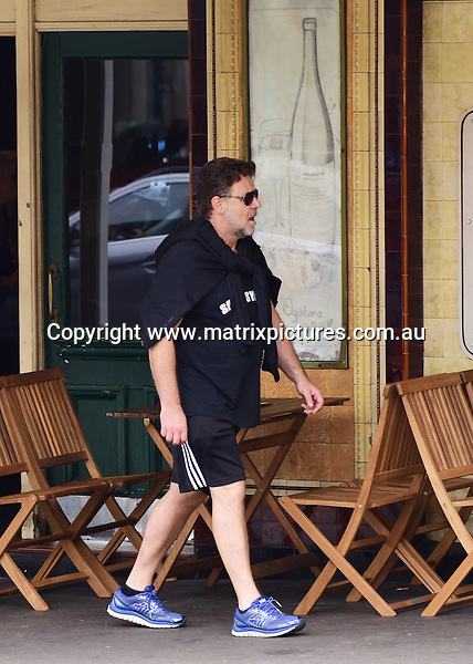30 October 2016 SYDNEY AUSTRALIA<br /> WWW.MATRIXPICTURES.COM.AU<br /> <br /> EXCLUSIVE PICTURES<br /> Russell Crowe takes one of his sons, Tennyson? to lunch and then to the gym. On the way they witness 4 ice addicts fighting on William Street over a mobile phone. &quot;Maximus&quot; watched but did not spring into action!  on 30 October 2016.<br /> <br /> *No internet without clearance*.<br /> <br /> MUST CALL PRIOR TO USE <br /> <br /> +61 2 9211-1088. <br /> <br /> Matrix Media Group.Note: All editorial images subject to the following: For editorial use only. Additional clearance required for commercial, wireless, internet or promotional use.Images may not be altered or modified. Matrix Media Group makes no representations or warranties regarding names, trademarks or logos appearing in the images.