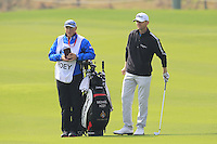 Michael Hoey (NIR) and caddy Gerry wait to play his 2nd shot on the 9th hole during Sunday's Final Round of the 2014 BMW Masters held at Lake Malaren, Shanghai, China. 2nd November 2014.<br /> Picture: Eoin Clarke www.golffile.ie