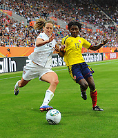Lauren Cheney (l) of team USA and Fatima Montano of team Colombia during the FIFA Women's World Cup at the FIFA Stadium in Sinsheim, Germany on July 2nd, 2011.