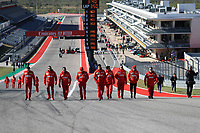 31st October 2019; Circuit of the Americas, Austin, Texas, United States of America; F1 United States Grand Prix, team arrival day; Scuderia Ferrari, Charles Leclerc walks the circuit with his team  - Editorial Use