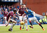 22.04.2018 Rangers v Hearts: Jamie Murphy takes on Don Cowie and Connor Randall