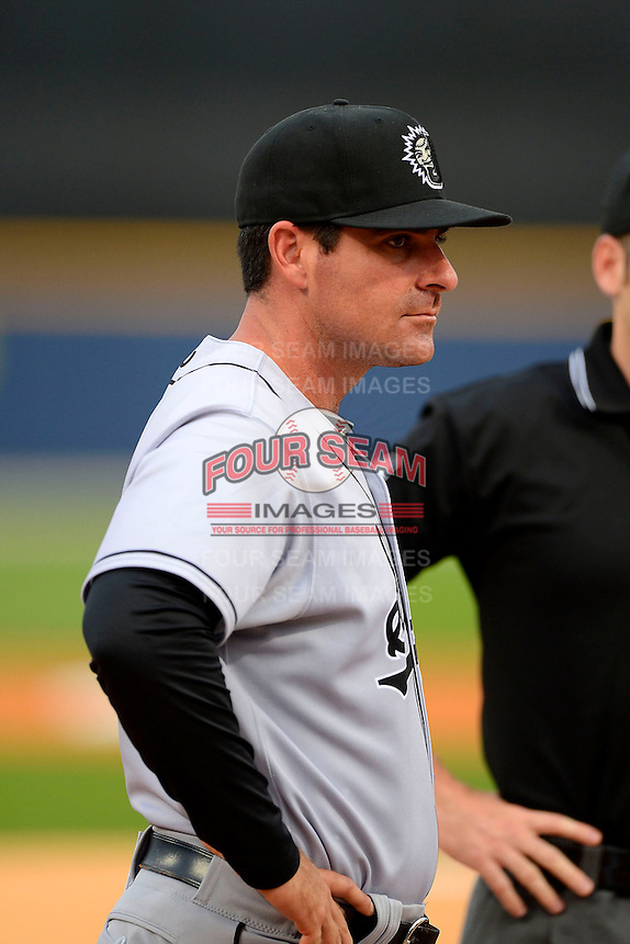 Jacksonville Suns manager Andy Barkett #17 before a game against the Pensacola Blue Wahoos on April 15, 2013 at Pensacola Bayfront Stadium in Pensacola, Florida.  Jacksonville defeated Pensacola 1-0 in 11 innings.  (Mike Janes/Four Seam Images)