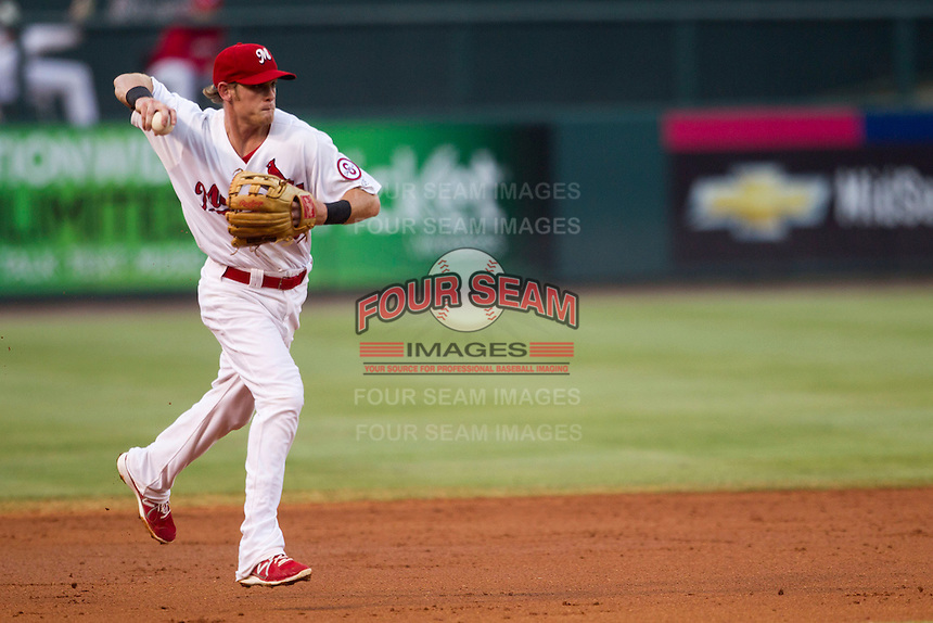 Memphis Redbirds shortstop Ryan Jackson (23) AAA against the New Orleans Zephyrs in the Pacific Coast League baseball game on June 12, 2013 at Autozone Park in Memphis, Tennessee. Memphis defeated New Orleans 9-3. (Andrew Woolley/Four Seam Images)