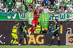31.08.2019, Volkswagen Arena, Wolfsburg, GER, 1.FBL, VfL Wolfsburg vs SC Paderborn<br /> <br /> DFL REGULATIONS PROHIBIT ANY USE OF PHOTOGRAPHS AS IMAGE SEQUENCES AND/OR QUASI-VIDEO.<br /> <br /> im Bild / picture shows<br /> Koen Casteels (VfL Wolfsburg #01) mit Parade, <br /> <br /> Foto © nordphoto / Ewert