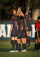 STANFORD, CA - August 10, 2018: Jaye Boissiere, Belle Briede, Carly Malatskey, Tierna Davidson, Jordan DiBiasi at Laird Q. Cagan Stadium. The Stanford Cardinal defeated the Fresno State Bulldogs 4-0.