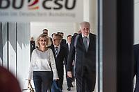 Innenminister Horst Seehofer (rechts im Bild), CSU, nach waehrend einer ausserordentlichen Sitzung der CDU/CSU-Fraktion nachdem es zwischen der CDU und der CSU zum Streit ueber den Umgang mit Fluechtlingen gab. Die Sitzung des Deutschen Bundestag wurde aufgrund dieses Streit auf Antrag der CDU/CSU-Fraktion fuer mehrere Stunden unterbrochen. Die Fraktionen von CDU und CSU tagten getrennt.<br /> Links: Die CSU-Abgeordnete Karin Maag.<br /> 14.6.2018, Berlin<br /> Copyright: Christian-Ditsch.de<br /> [Inhaltsveraendernde Manipulation des Fotos nur nach ausdruecklicher Genehmigung des Fotografen. Vereinbarungen ueber Abtretung von Persoenlichkeitsrechten/Model Release der abgebildeten Person/Personen liegen nicht vor. NO MODEL RELEASE! Nur fuer Redaktionelle Zwecke. Don't publish without copyright Christian-Ditsch.de, Veroeffentlichung nur mit Fotografennennung, sowie gegen Honorar, MwSt. und Beleg. Konto: I N G - D i B a, IBAN DE58500105175400192269, BIC INGDDEFFXXX, Kontakt: post@christian-ditsch.de<br /> Bei der Bearbeitung der Dateiinformationen darf die Urheberkennzeichnung in den EXIF- und  IPTC-Daten nicht entfernt werden, diese sind in digitalen Medien nach &szlig;95c UrhG rechtlich geschuetzt. Der Urhebervermerk wird gemaess &szlig;13 UrhG verlangt.]