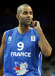 French national basketball team player Tony Parker gestures before start of final Eurobasket 2011 game between Spain and France in Kaunas, Lithuania, Sunday, September 18, 2011. (photo: Pedja Milosavljevic)