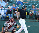 SIOUX FALLS, SD - JULY 2 Chris Duffy #17 from the Sioux Falls Canaries watches the ball leave the park on a solo home run against the Gary Southshore Railcats in the second inning Wednesday night at the Sioux Falls Stadium. (Photo by Dave Eggen/Inertia)