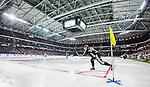 Solna 2014-03-16 Bandy SM-final herrar Sandvikens AIK - V&auml;ster&aring;s SK :  <br /> Sandvikens Erik S&auml;fstr&ouml;m sl&aring;r en h&ouml;rna i Friends Arena<br /> (Foto: Kenta J&ouml;nsson) Nyckelord:  SM SM-final final herr herrar VSK V&auml;ster&aring;s SAIK Sandviken  inomhus interi&ouml;r interior